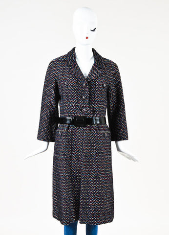 Chanel Black Multicolor Wool Chevron Textured Button Down Belted Coat Frontview