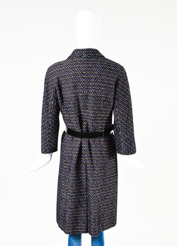 Chanel Black Multicolor Wool Chevron Textured Button Down Belted Coat Backview