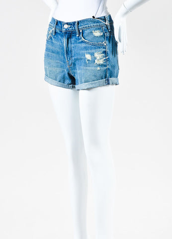"Mother Denim ""Teaser Roll"" Navy Denim Distressed Cuffed Shorts Sideview"
