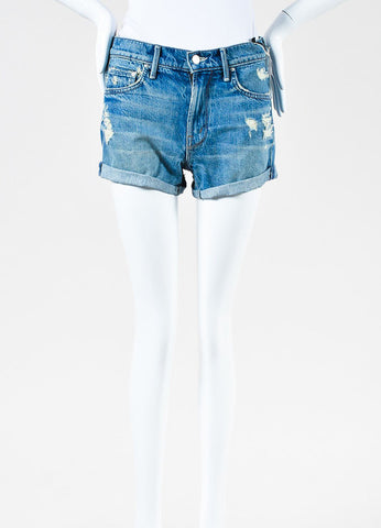 "Mother Denim ""Teaser Roll"" Navy Denim Distressed Cuffed Shorts  Frontview"