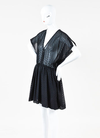 IRO Black Cotton Sheer Polka Dotted Short Sleeve Dress Sideview