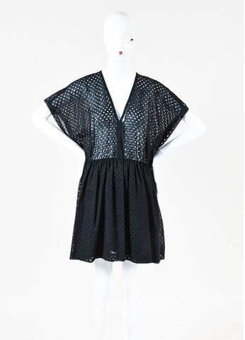 IRO Black Cotton Sheer Polka Dotted Short Sleeve Dress Frontview