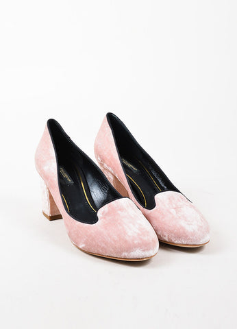 Dolce & Gabbana Light Pink Crushed Round Toe Block Heels Front
