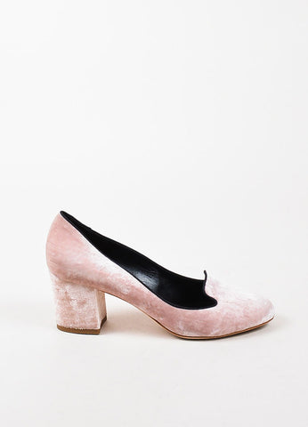 Dolce & Gabbana Light Pink Crushed Round Toe Block Heels Side