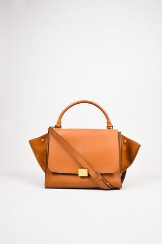 "Celine Two Tone Brown Leather & Suede Medium ""Trapeze"" Bag Front"