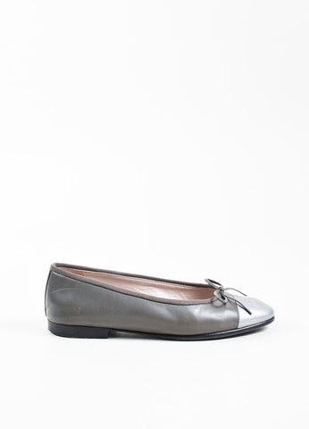 Chanel Grey and Metallic Silver Leather 'CC' Cap Toe Ballerina Flats Sideview