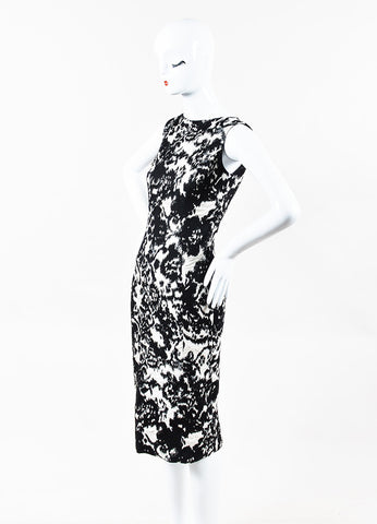 Christian Dior Black Cream Wool Silk Contrast Jacquard Pattern Dress Side