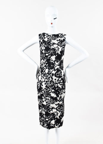 Christian Dior Black Cream Wool Silk Contrast Jacquard Pattern Dress Front