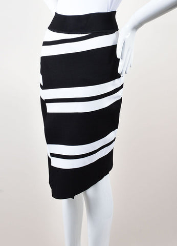ALC Black and White Stretch Knit Striped Skirt Sideview