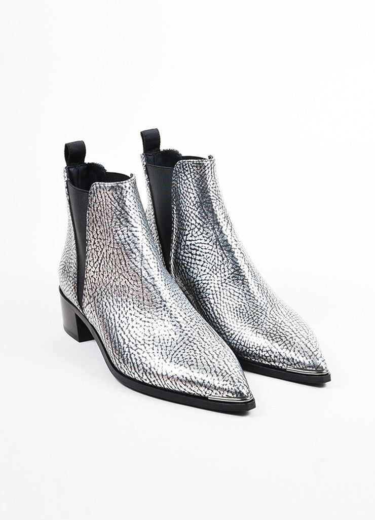 "Silver Acne Studios Leather ""Jensen"" Chelsea Ankle Booties Front"