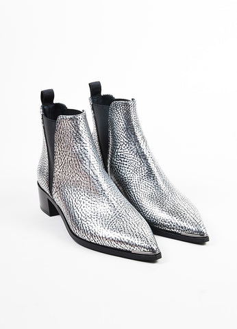 "Acne Studios Silver and Black Leather ""Jensen"" Chelsea Ankle Booties Frontview"