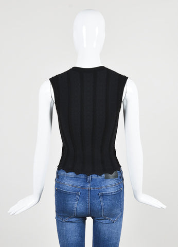 Alaia Black Matelasse Knit Zip Front Sleeveless Fitted Top Backview