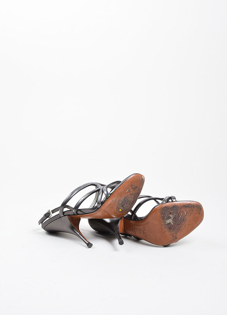 Alaia Gunmetal Leather Chain Strappy Slingback Heeled Sandals Outsoles