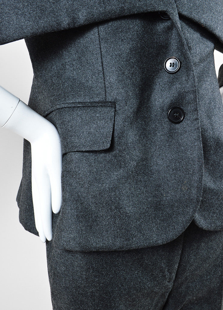 Alexander McQueen Grey Wool and Cashmere Oversized Collar Jacket Pant Suit Detail