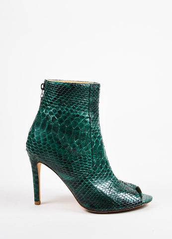 Alexandre Birman Green and Black Python Embossed Leather Peep Toe Booties Sideview