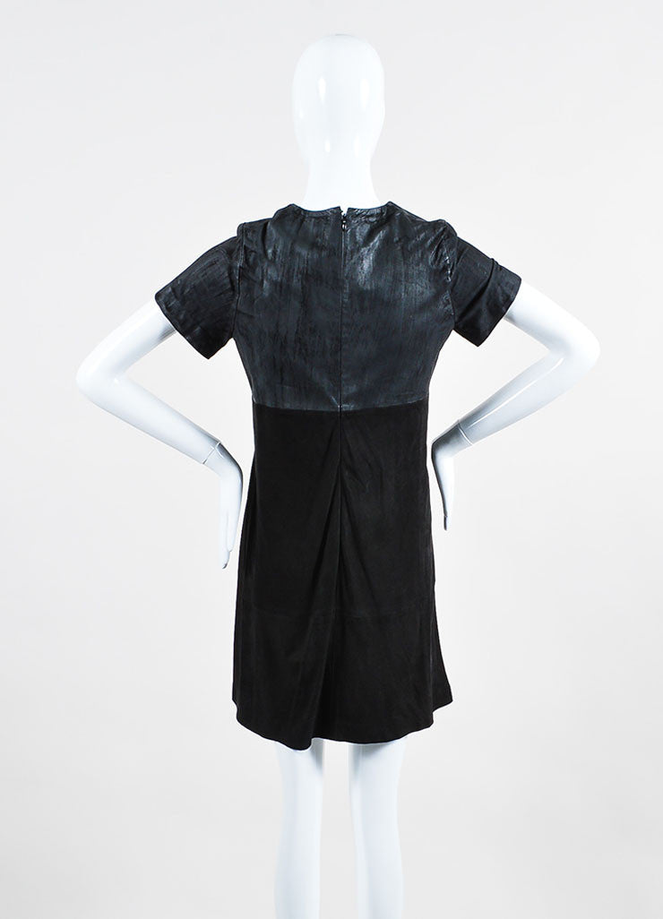 Black Balenciaga Leather and Suede Short Sleeve V-Neck Dress Backview