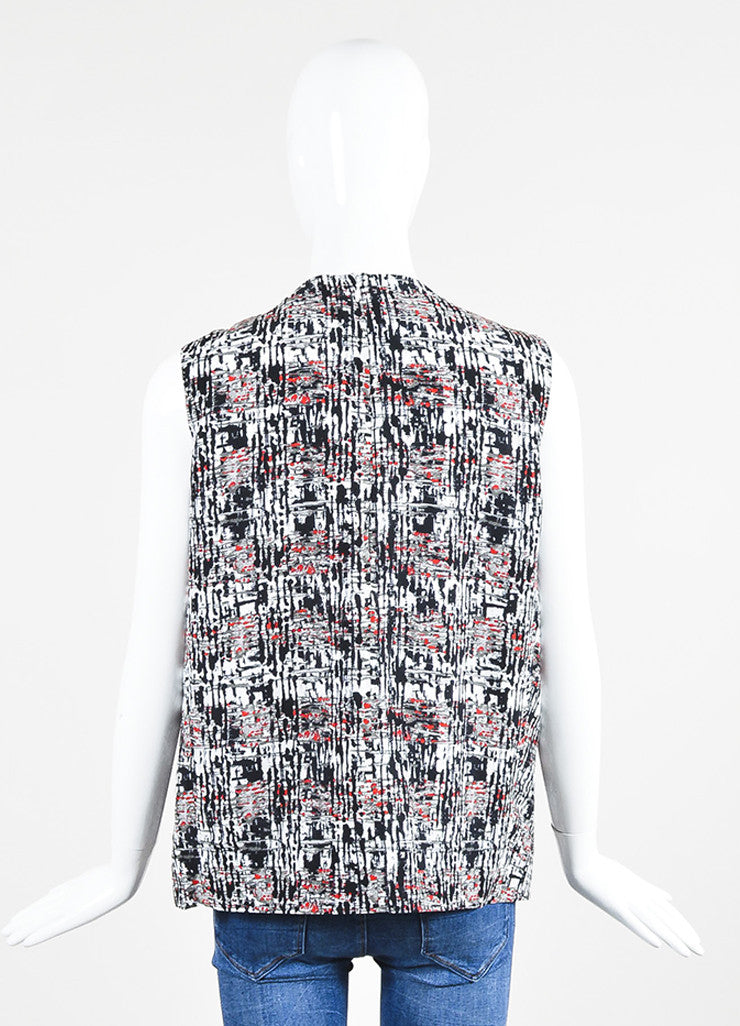 Black and Red Balenciaga Silk Splatter Print Buckle Detail Drape Top Backview