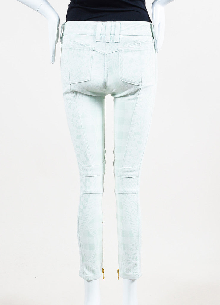 Balmain Mint Green, White, and Gold Toned Zipper Printed Skinny Jeans Backview