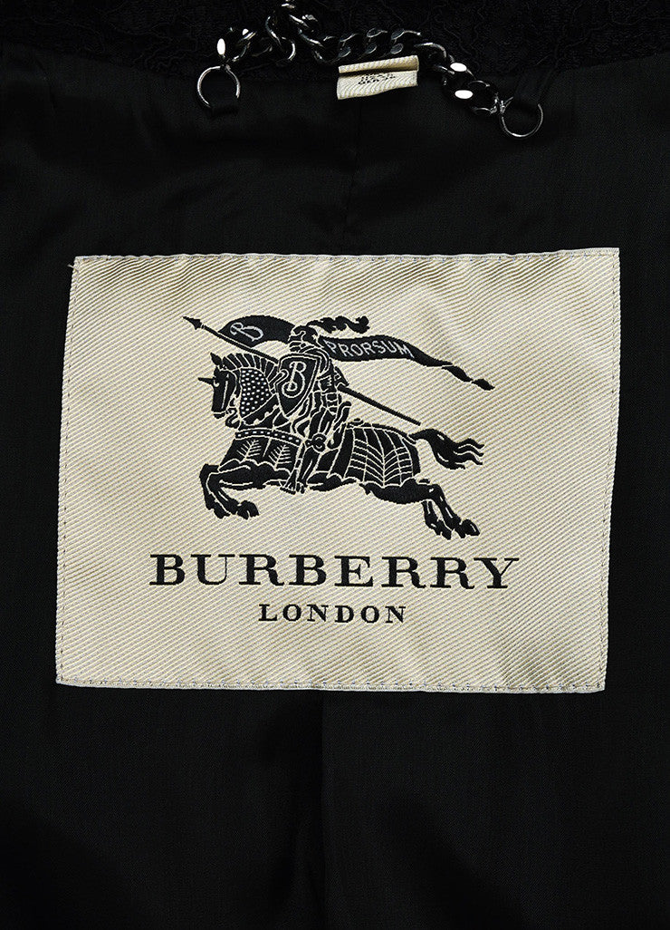 Burberry London Black Floral Lace Double Breasted and Belted Trench Coat Brand