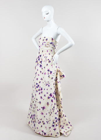 Cream and Purple Carolina Herrera Silk Floral Ruched Draped Strapless Gown Sideview