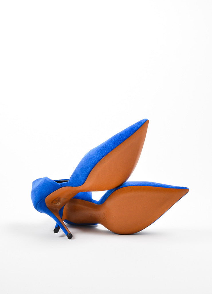Blue Celine Suede D'Orsay Pointed Toe Pumps Outsoles
