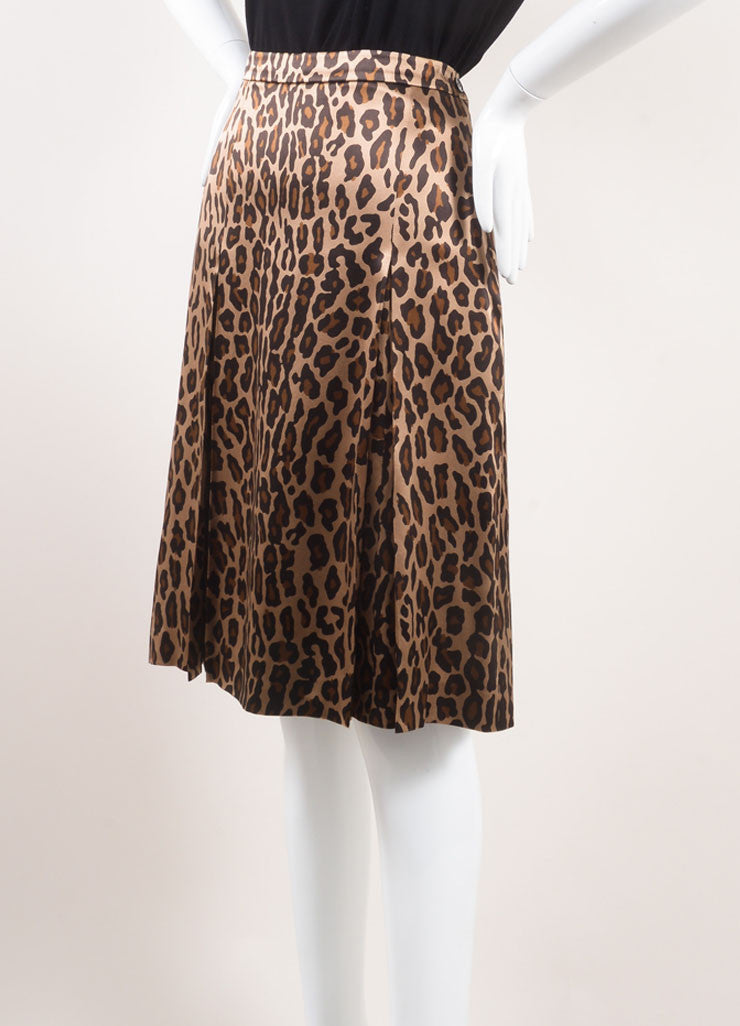 Celine New With Tags Gold, Black, and Brown Silk Leopard Print Pleated Skirt Sideview