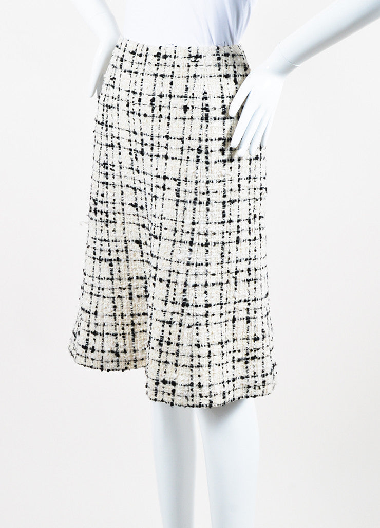 Cream and Black Chanel Wool Blend Tweed Sequin A-Line Skirt Sideview