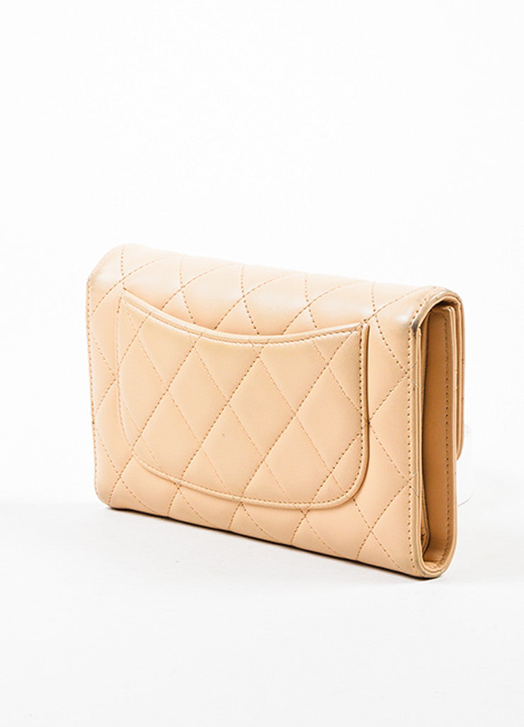 Chanel Beige Lambskin Leather Quilted Flap Wallet Sideview