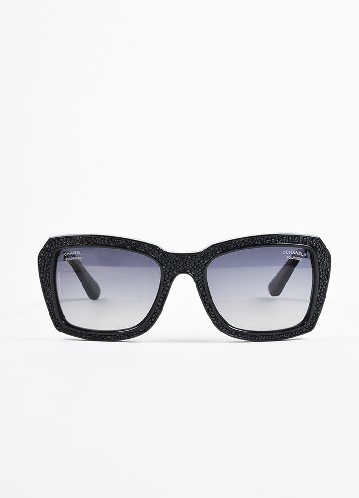 "Chanel Black and Charcoal Silver Toned Pebbled Square Frame ""6047 Q"" Sunglasses Frontview"