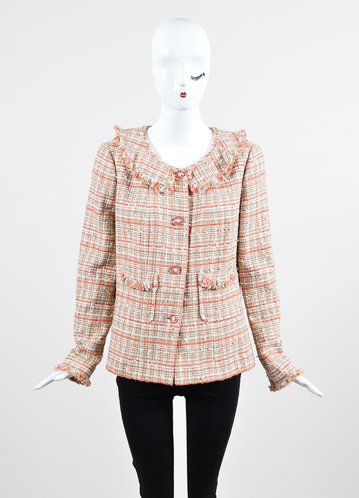 Coral and White Chanel Tweed Knit Fringe Button Blazer Jacket Frontview 2