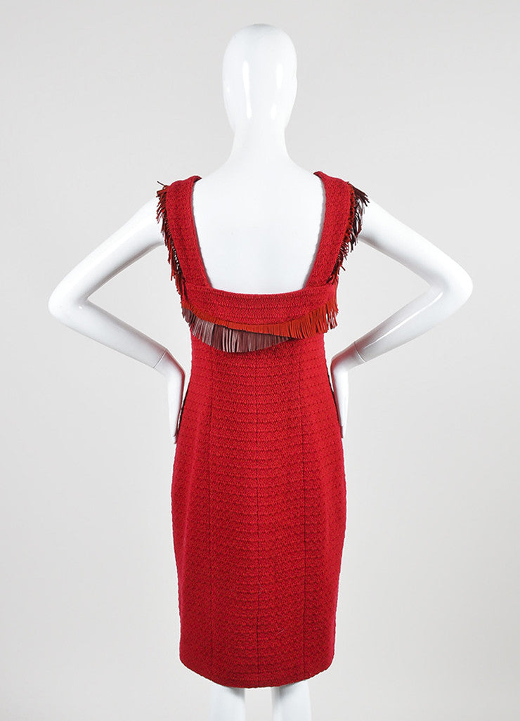 Red Chanel Tweed Leather Fringe Sleeveless Shift Dress Backview