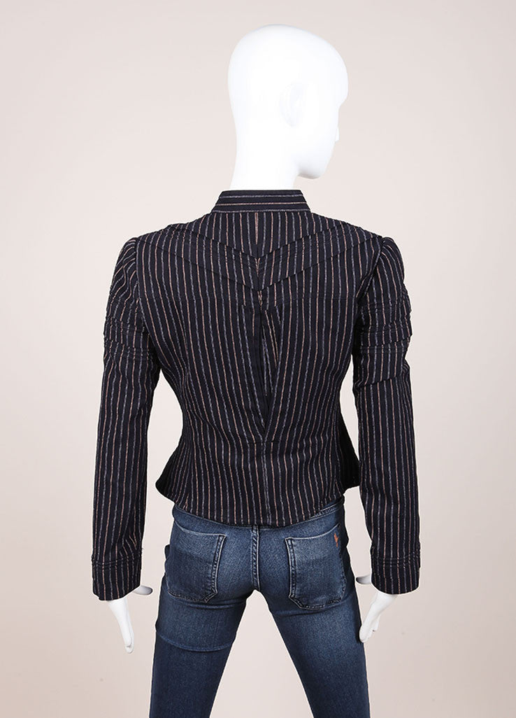 Chanel Navy and Red Striped Peplum Button Down Jacket Backview