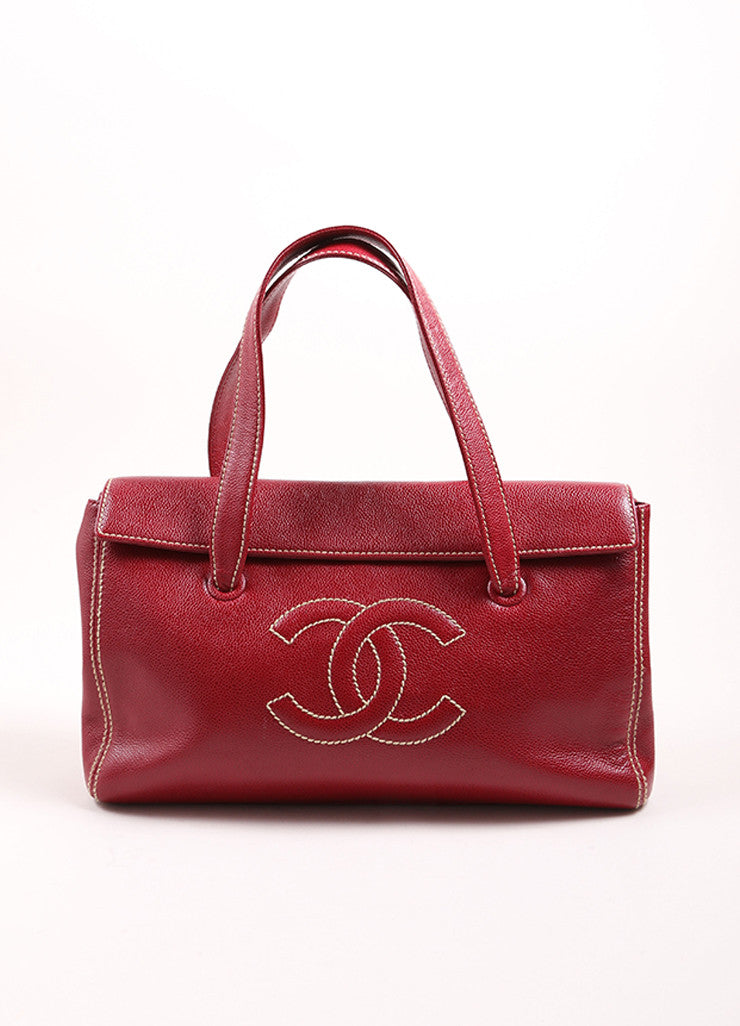 "Chanel Red Caviar Leather ""CC"" Embroidered Logo Flap Handbag Frontview"