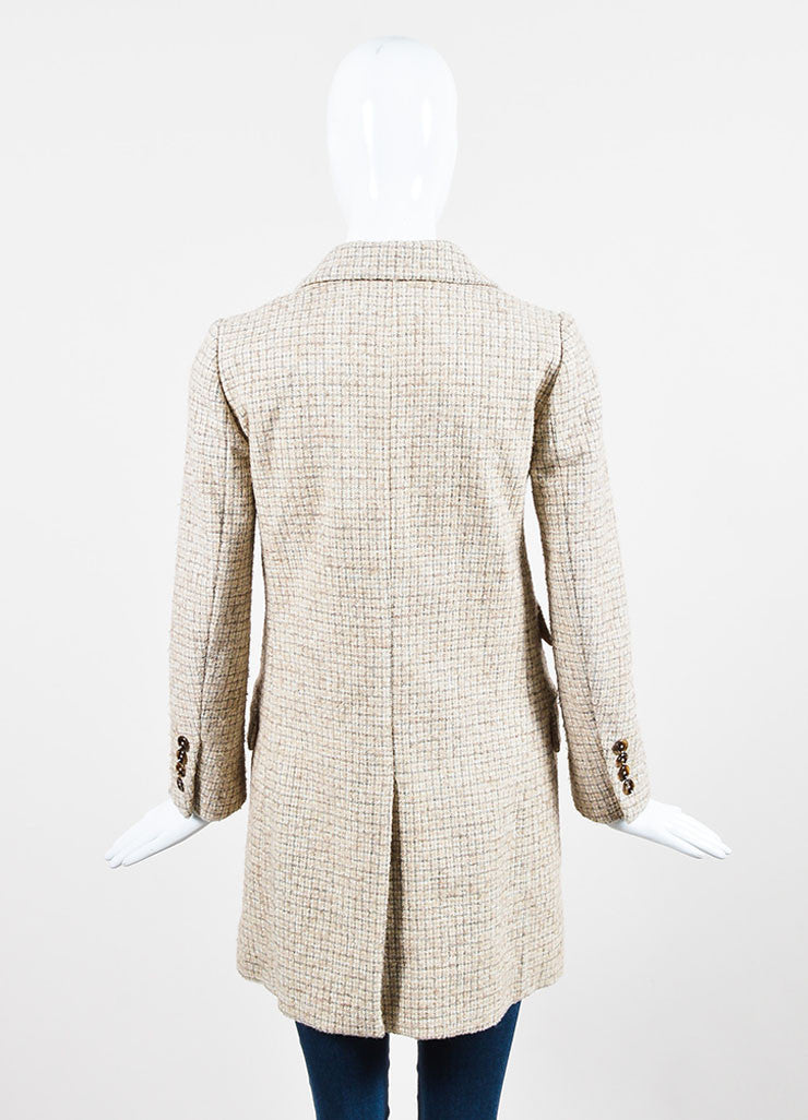 Chloe Beige and Grey Wool Tweed Plaid Double Breasted Pea Coat Backview