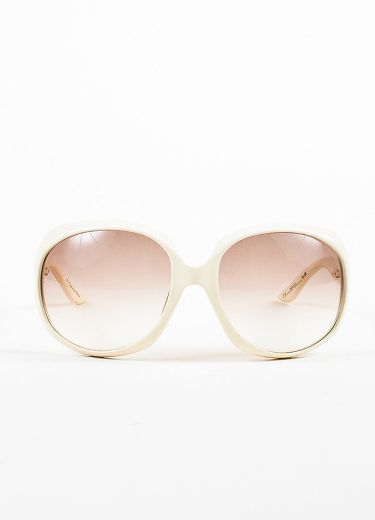 "Christian Dior Cream and Grey Gradient Lens Oversize Oval ""Dior Glossy 1"" Sunglasses Frontview"