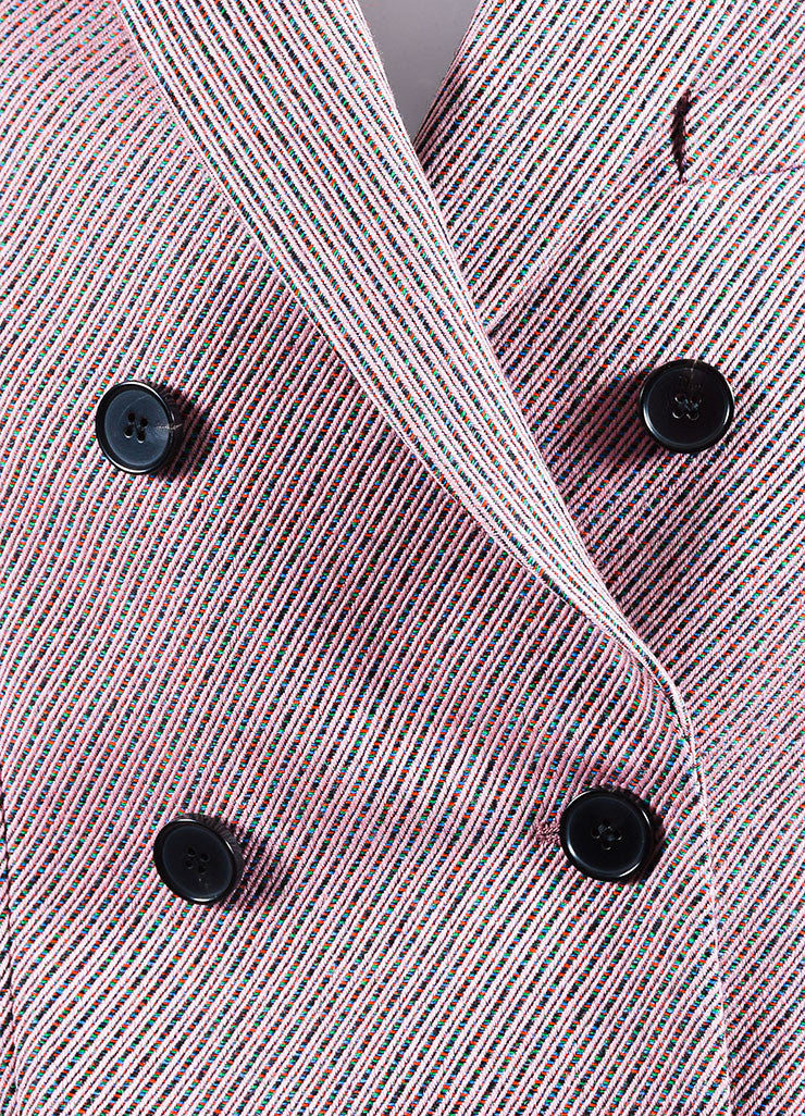 Pink and Multicolor Christian Dior Striped Double Breasted Pea Coat Detail
