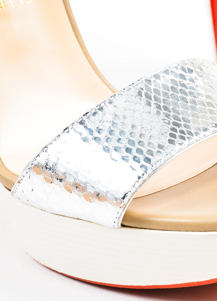 "Christian Louboutin Cream and Silver Suede and Python ""Dufoura 140"" Sandals Detail"