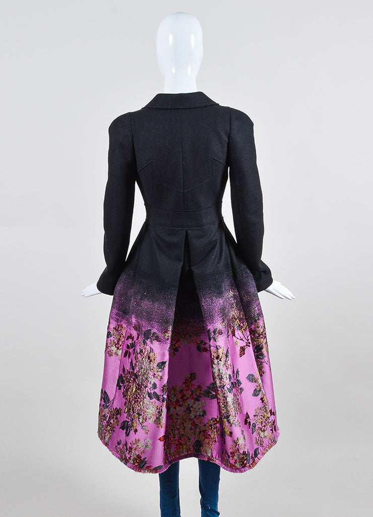 Black, Pink, and Red Erdem Wool Brocade Ombre Floral Maxi Coat Backview