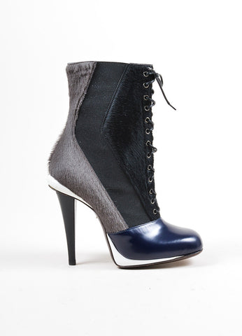 Black Grey Navy Fendi Pony Hair Lace Up Ankle Boots Side