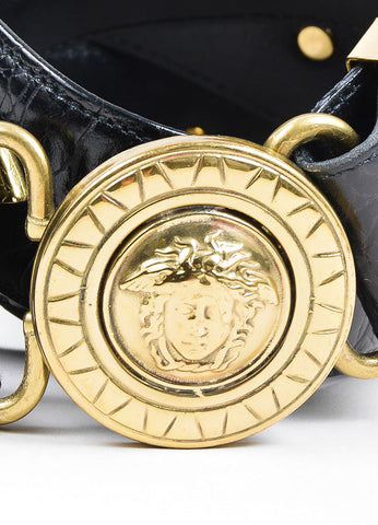 Black Gianni Versace Embossed Gold Toned Large Medallion Buckle Belt Detail