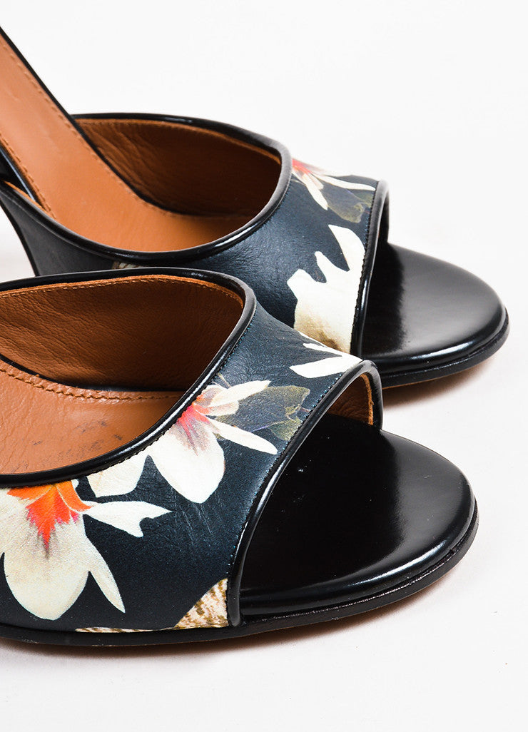 Givenchy Black and Cream Leather Floral Print Open Toe Sandals Detail