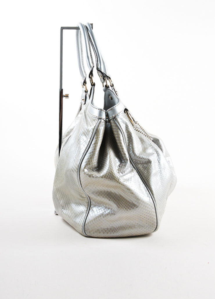 "Gucci Silver Metallic Leather Trim Python Skin Large ""Sukey"" Tote Bag Sideview"