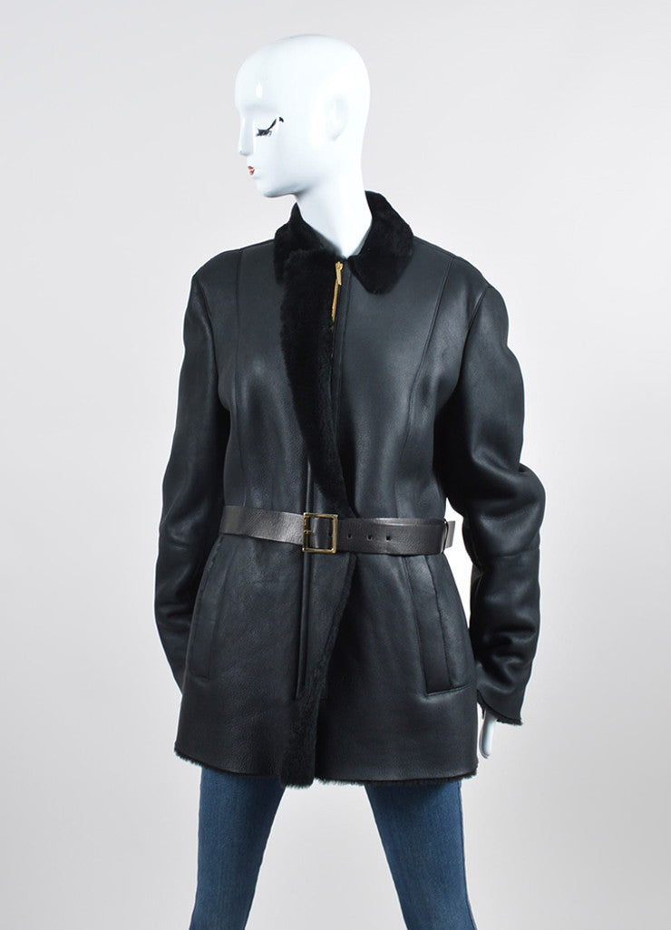 Black Gucci Leather Shearling Lined Belted Coat Frontview