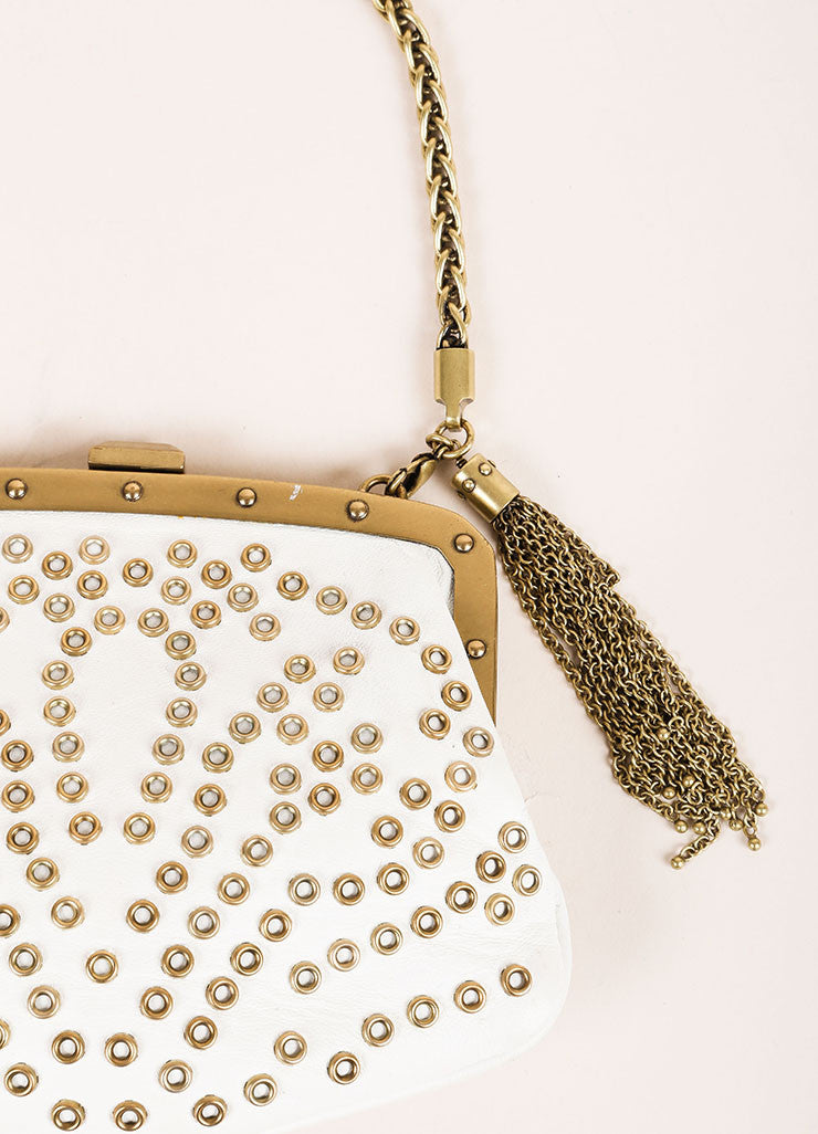 Gucci Cream and Gold Toned Hardware Embellished Wristlet Detail