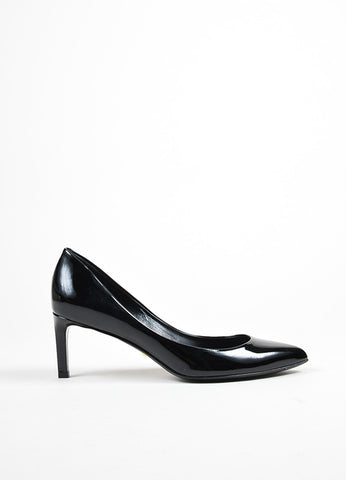 Black Gucci Patent Leather Pointed Toe 65mm Heel Pumps Side
