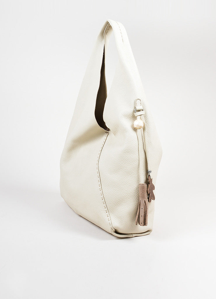 Cream Henry Beguelin Pebbled Leather Coin Purse Slouchy Bag Sideview