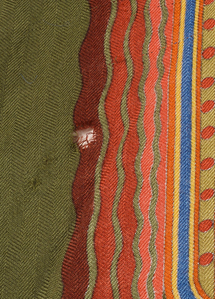 "Hermes Green and Multicolor Silk Twill ""Jardins d'Armenie"" Scarf Detail 2"