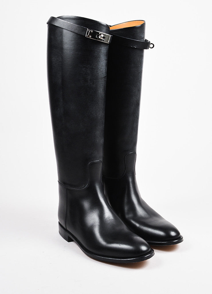 "Hermes Black Leather ""Jumping"" Almond Toe Tall Riding Boots  Frontview"