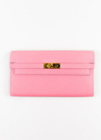 "Hermes Rose Confetti Pink Epsom Leather ""Kelly"" Long Money Holder Wallet Frontview"