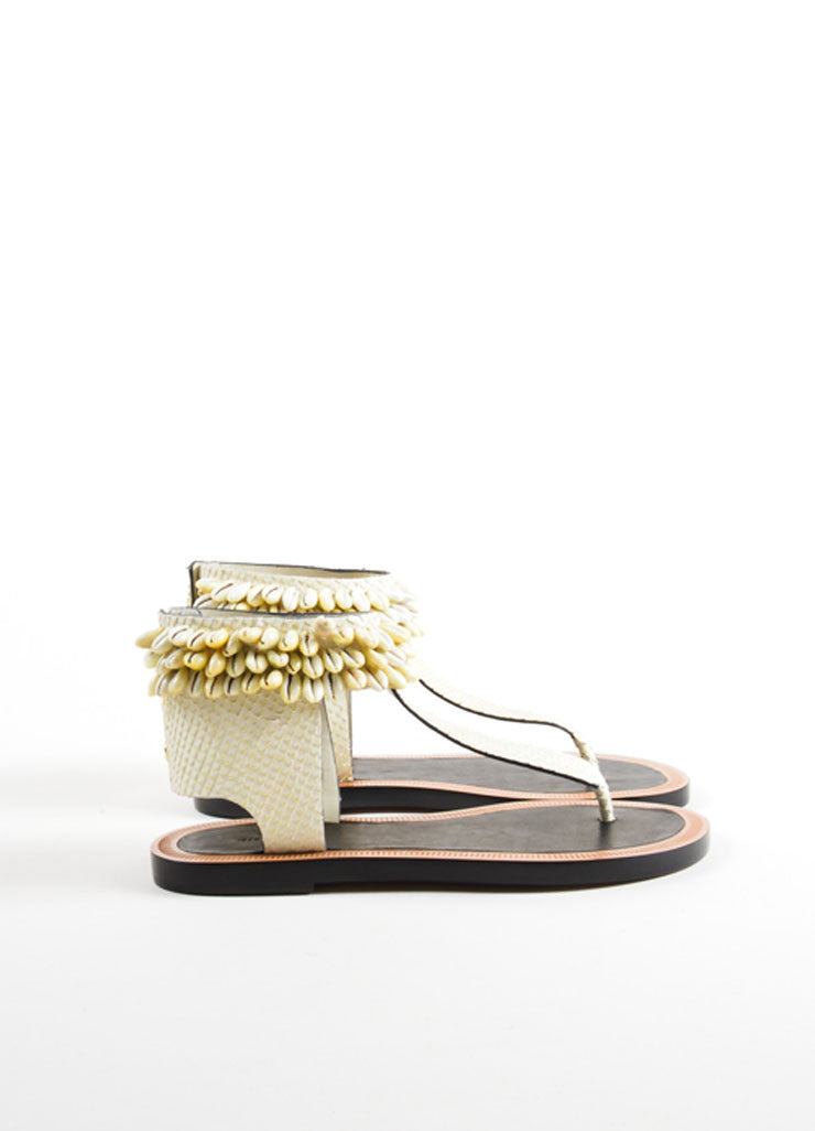 "Isabel Marant Cream Shell Leather Ankle Wrap ""Cauri"" Sandals Sideview"